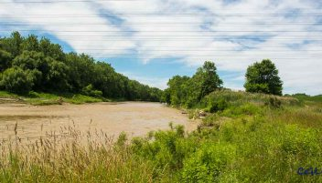 Muddy river after heavy rainfall