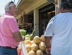 Bob could resist a huge cantaloupe.