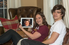 Emmy and Michael Facetiming with Carrie