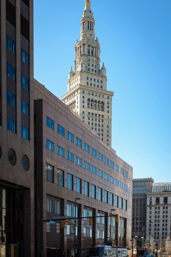 Street shot with Terminal Tower in background