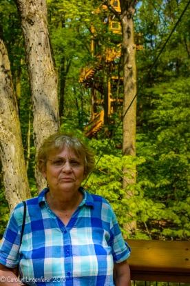 Lorna is standing on the Canopy Walk where you can see a glimpse of the Tower in the background.