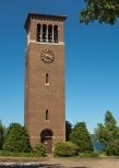 The Miller bell tower on the shore of the lake