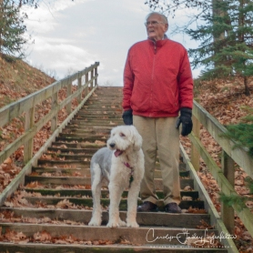 Stair walking with Bob in the park